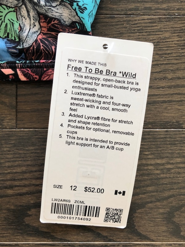 Free To Be Wild Bra Lululemon, Size 12, (New) 1