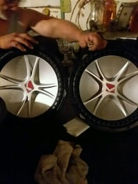 two black-and-gray Kicker subwoofers Gonzales, 70737