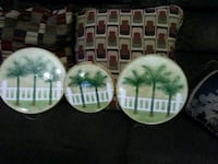 four white and green ceramic plates Reading, 19607