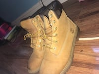 pair of wheat nubuck Timberland Premium work boots