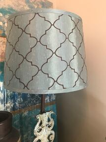 Pair of lamp shades (BRAND NEW). Soft blue and chocolate pattern.