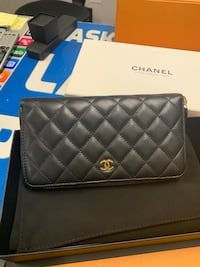 Quilted black chanel leather crossbody wallet 377 mi