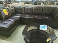 Brown leather sectional new