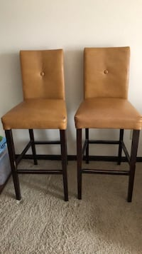 Leather/Wood Matching Barstools