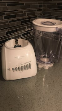white and clear glass blender
