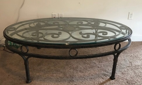 Photo Wrought Iron framed glass top coffee table