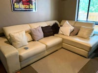 Beige Leather L-Shape Couch w/ adjustable cushions Rockville