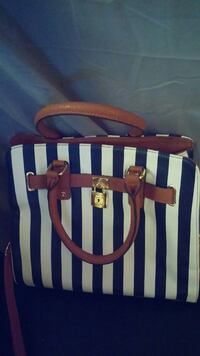 blue and white striped leather tote bag Oklahoma City, 73131