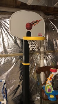 gray and black Little-Trikes basketball system
