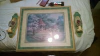 brown wooden framed painting of house Rossville, 30741