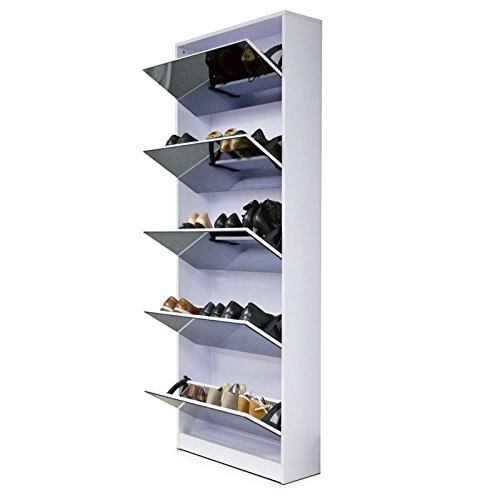 Organizedlife White Wooden Shoe Cabinet Mirror Shoe Organizer With With 5  Racks
