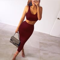Sexy Sleeveless Two Piece Set Crop Top And Bodycon Skirt Burnaby