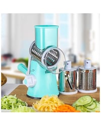 Adjustable 3 Different Types of Stainless Steel Manual Rotating Vegetable Chopper Round Veggie Chopper Mandoline Slicer- Vegetable Slicer/ Cutter - Potato Slicer - Cheese Grater- Food Slicer 歐文, 92606