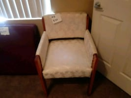 Wood white cloth comfortable chair.