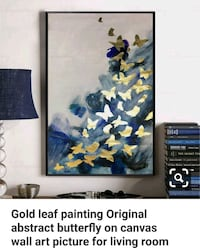 Gold Butterflies Abstract Painting