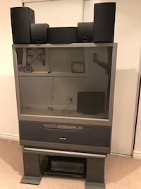 gray and black wooden TV hutch