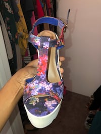 Blue and pink floral leather open toe ankle strap heels: never worn size 6: SERIOUS INQUIRES ONLY Grand Prairie, 75051