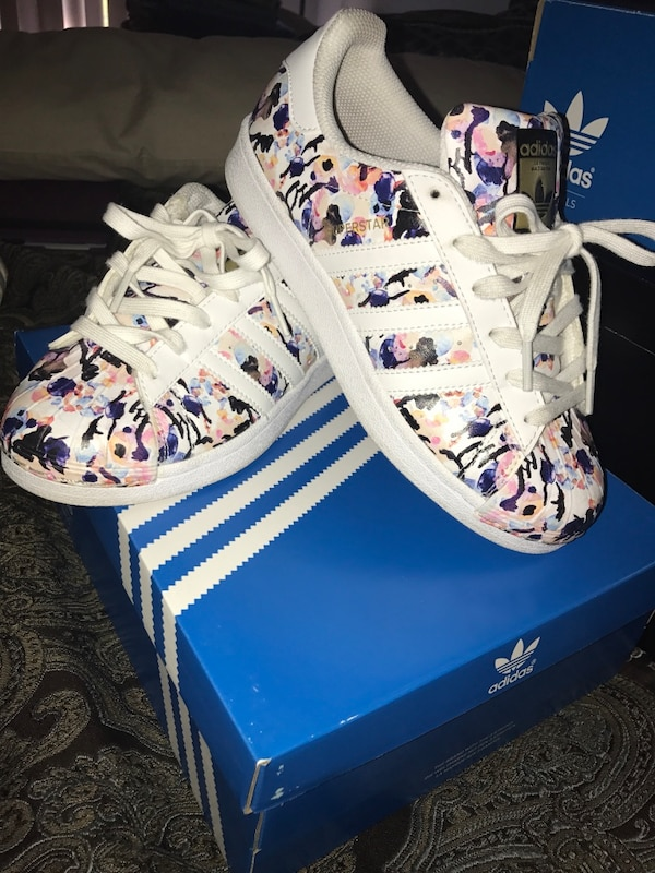 2ea8fc6e8d5 Used white-pink-blue Adidas Superstars with box