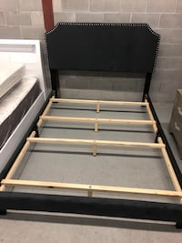 Brand new queen charcoal fabric bed frame with adjustable headboard on sale  多伦多