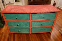 6 drawer wicker dresser and side stand