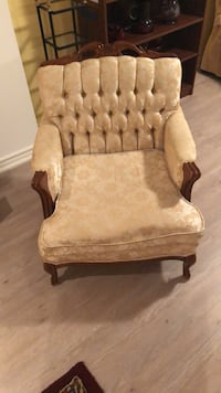 brown wooden frame beige padded armchair Mississauga, L5M 5B4