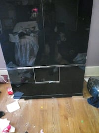 black wooden frame glass top TV stand Schenectady, 12308