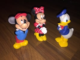 """Vintage 6"""" Rubber Disney Mickey Mouse, Minnie Mouse & Donald Duck"""