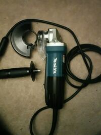 blue and gray Makita corded power drill