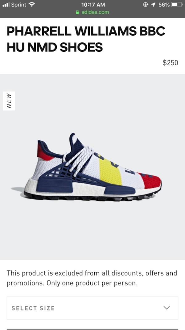 size 40 1f19a a9338 Pharrell William human race nmd x bbc size 11.5