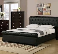 Brand New Queen Size Leather Tufted Platform Bed  Silver Spring