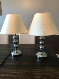 two stainless steel base white shade table lamps Point Of Rocks, 21777