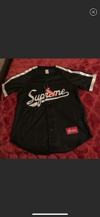 Supreme Satin black baseball jersey