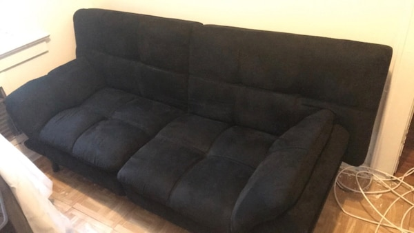 Black Fabric Tufted Sofa Bed Used 3ways