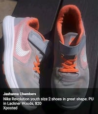 Nike Revolution youth size 2 shoes in great shape. Kitchener, N2A 4B9