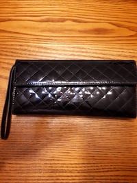 quilted black leather wristlet