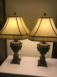 two brown-and-white table lamps