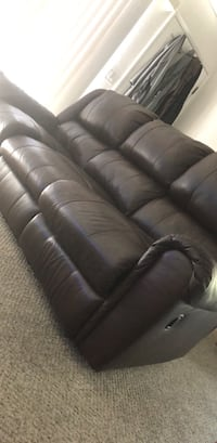 brown leather 3-seat sofa Campbell, 95008