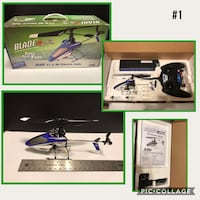 blue and black Blade RC helicopter with box collage