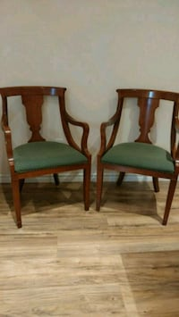 Antique brown solid wood two chairs Hamilton