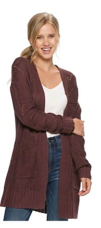 Plum Pointelle Cardigan Size M Brooklyn