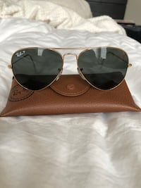 Polarized Ray Ban RB 3025 Aviator Large Metal Sunglasses- Gold/Gray Gainesville