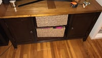 Brown wooden tv stand with cabinet Boston, 02111