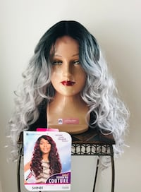 Long Curly Ombre Grey Wig for Everyday or Cosplay Calgary, T2P