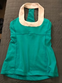 women's teal and white sleeveless halter top