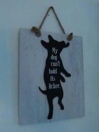 brown and black my dog can'y hold its licker wall-decor Delhi charter Township, 48842