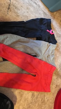 blue, grey and pink pants