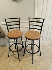 two black metal framed brown padded bar stools Beach Haven, 08008