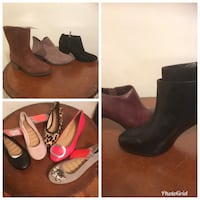 Woman shoes many styles, colors. Flats $7,  short boot $10 and tall boots $12. Buy a box of 20 flats for $100.  ALL SIZE 6..6 1/2