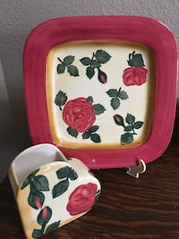 pink and white floral print ceramic plate and jar Lethbridge, T1K 6S2