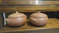 two brown clay pots